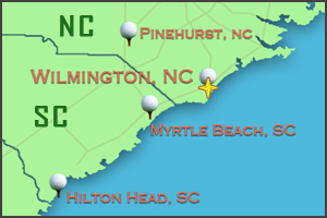 Map of Wilmington NC | Golf Packages Wilmington NC